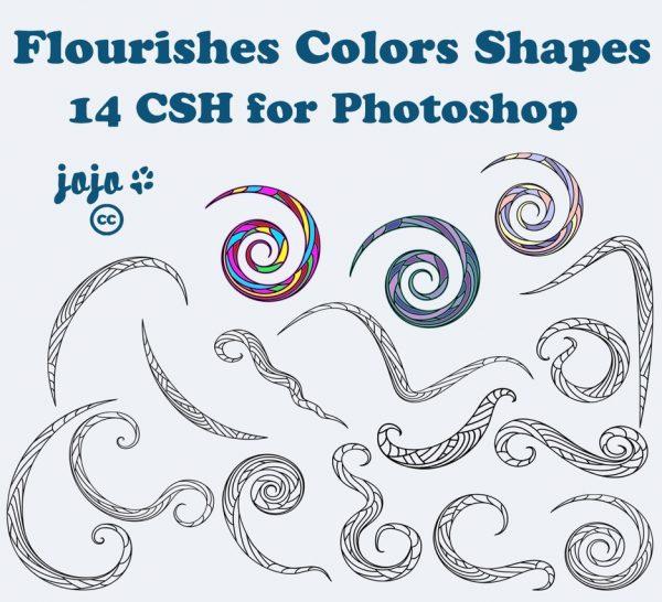 PS形状素材:手绘线条装饰图案csh格式