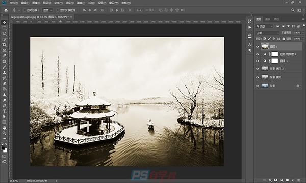 PS将照片制作为中国风水墨画风格