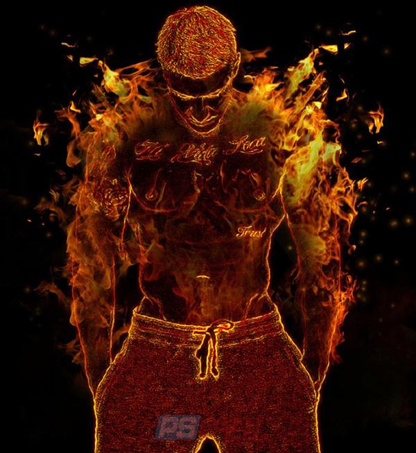 PS如何制作炫酷火焰人物效果?火焰特效创意合成教程