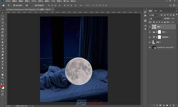 """PS合成 将月亮""""搬""""到床上"""