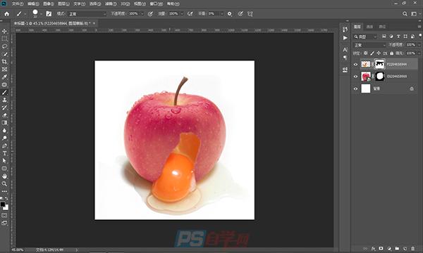 PS合成教程 苹果流出鸡蛋