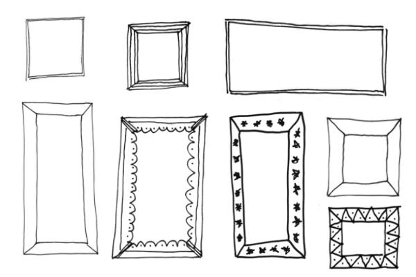 PS笔刷下载  手绘涂鸦相框、框架PS笔刷素材