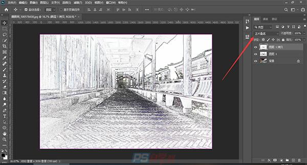 PS将建筑物转化为素描效果