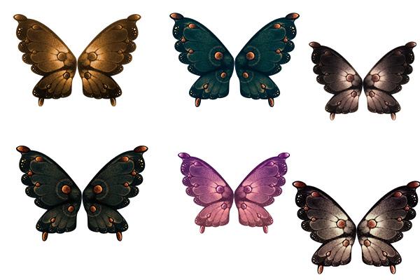 PS笔刷下载  七彩蝴蝶标本图案(PNG图片素材)