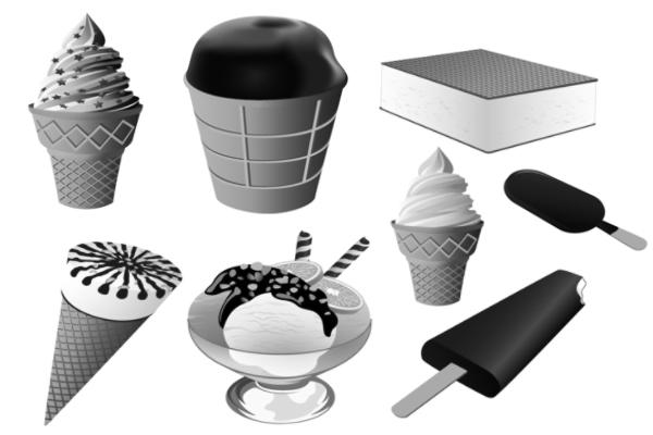 PS笔刷下载  冰棍、棒冰、甜筒、雪糕、冰淇淋等图像PS笔刷