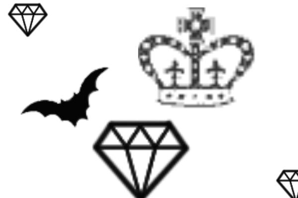 PS笔刷下载  可爱钻石、蝙蝠、皇冠图案笔刷