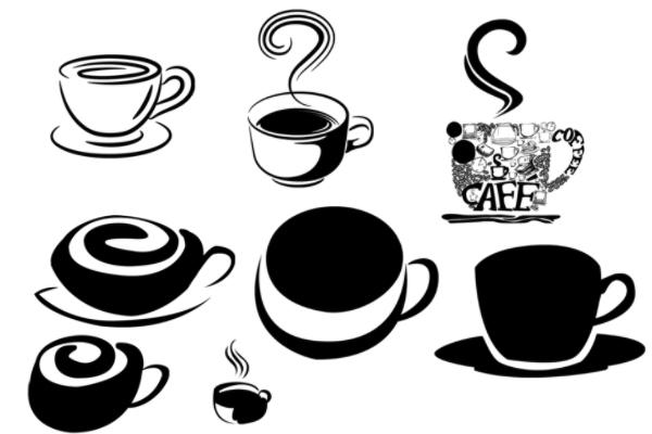 PS笔刷下载  咖啡杯、一杯咖啡剪贴画图像笔刷