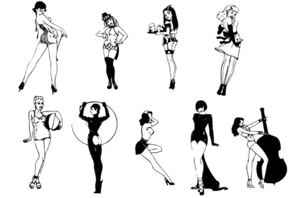 PS笔刷下载  32种靓丽女性姿势图形笔刷