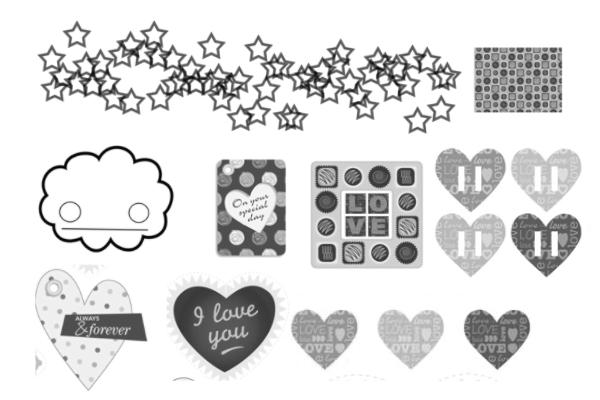 PS笔刷下载  可爱巧克力化恋爱贴纸背景PS笔刷