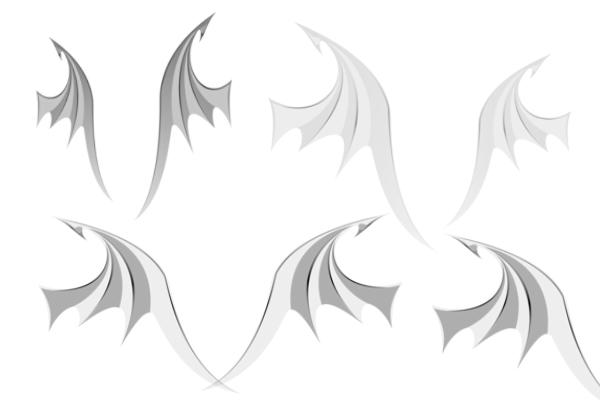 PS笔刷下载  恶魔翅膀、魔鬼翅膀笔刷