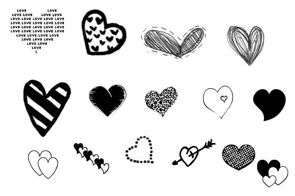 PS笔刷下载  各种可爱的爱心图像装饰情人节心形笔刷