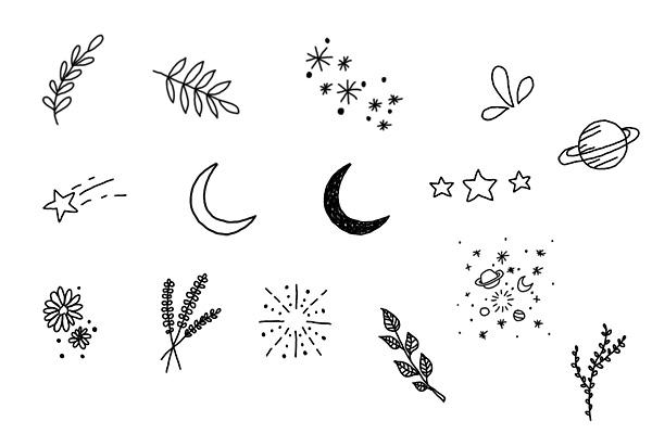 PS笔刷下载  涂鸦小清新花纹、星星、烟花、星球等图案(PNG透明图片格式)