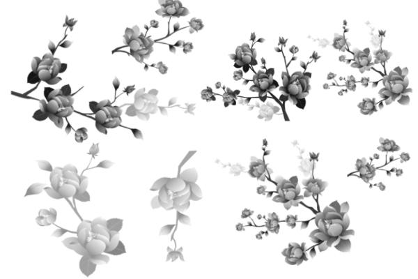PS笔刷下载  漂亮的枝条鲜花组合图案笔刷
