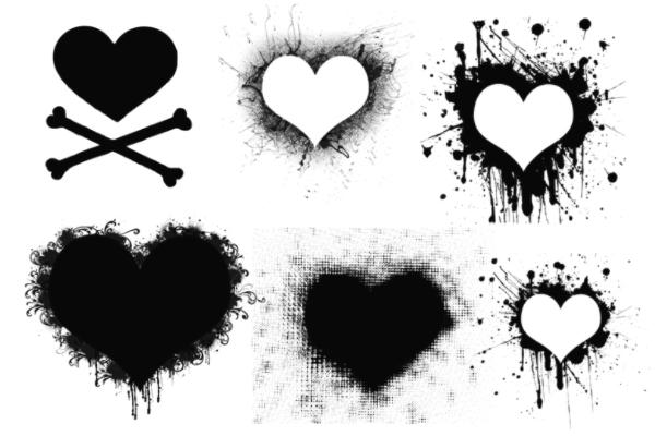 PS笔刷下载  手绘涂鸦爱心、心形图案笔刷