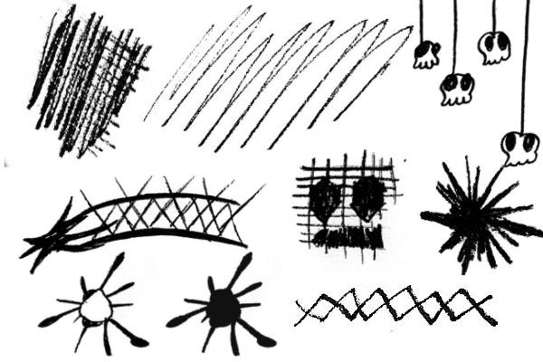 PS笔刷下载  破坏天使非主流童趣涂鸦笔刷