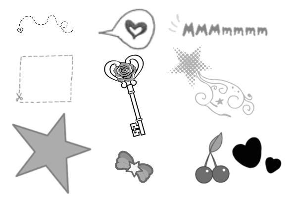 PS笔刷下载  童趣涂鸦蝴蝶、星星图案笔刷