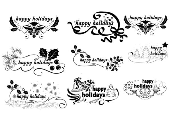 PS笔刷下载  精美圣诞文字、祝福笔刷