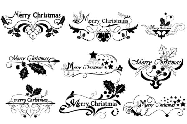 PS笔刷下载   精美圣诞文字边框装饰笔刷