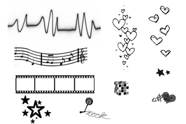 PS笔刷下载  荧光手绘五角星、五线乐谱等笔刷