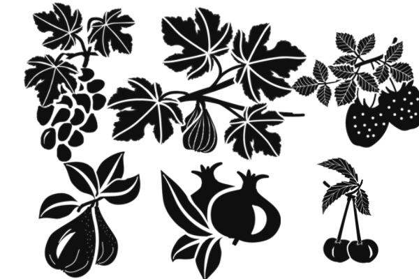 PS笔刷下载  葡萄花纹、草莓剪影图案笔刷