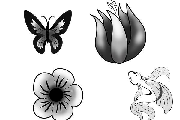 PS笔刷下载  金鱼、蝴蝶、花朵等图案(PNG格式)