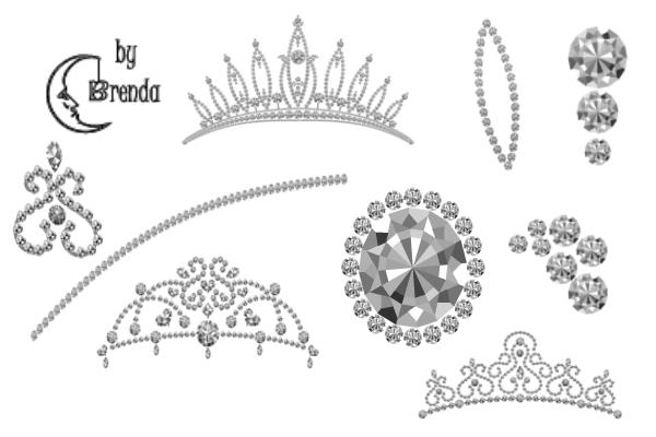 PS笔刷下载  钻石皇冠、钻石饰品图案笔刷