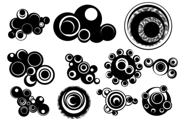 PS笔刷下载  非主流时尚同心圆叠加图形装饰笔刷