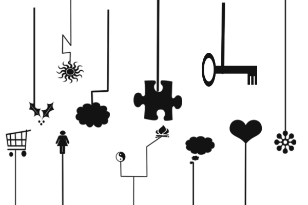 PS笔刷下载  拼图、爱心、太阳、钥匙等背景装饰笔刷