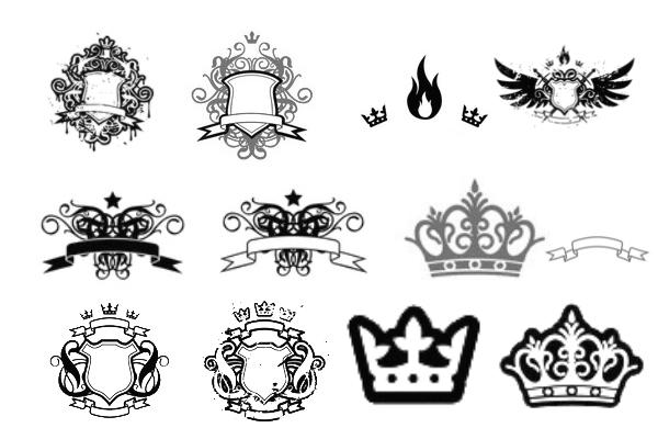 PS笔刷下载  非主流酷炫皇冠、盾牌花纹图案笔刷