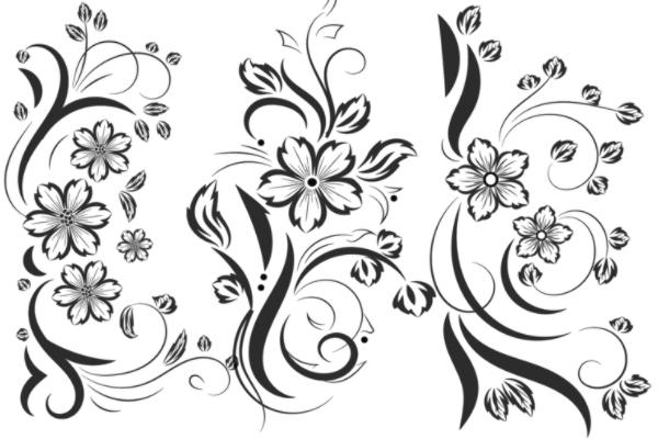PS笔刷下载  漂亮的鲜花、花纹装饰图案笔刷