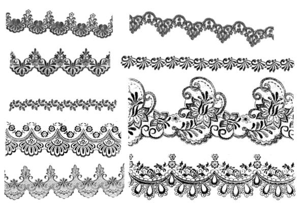 PS笔刷下载  复古式植物花边、经典印花图案笔刷