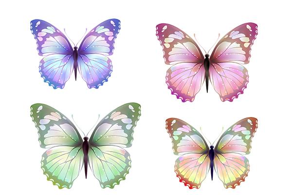 PS笔刷下载  4种七彩梦幻蝴蝶图形(AI文件素材)
