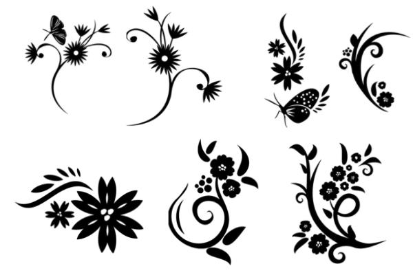 PS笔刷下载  植物鲜花、蝴蝶印花笔刷