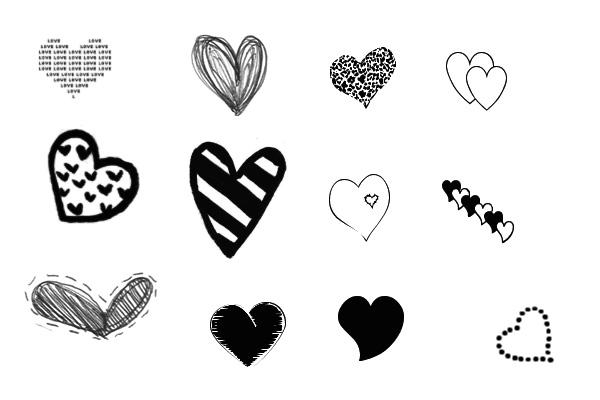 PS笔刷下载  各种可爱的爱心图像装饰笔刷