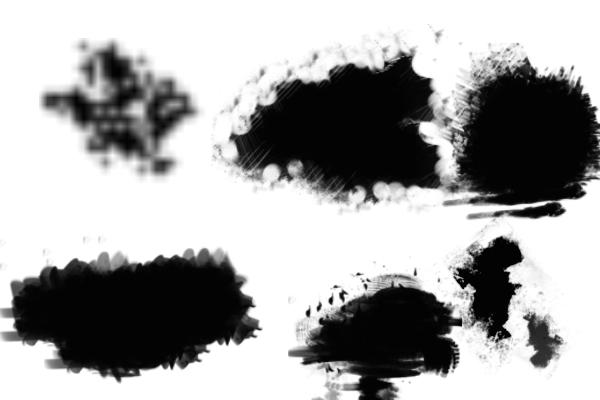 PS笔刷下载  数字云朵、手绘云朵、白云笔触画笔笔刷