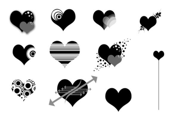 PS笔刷下载  爱心、非主流心形图案笔刷