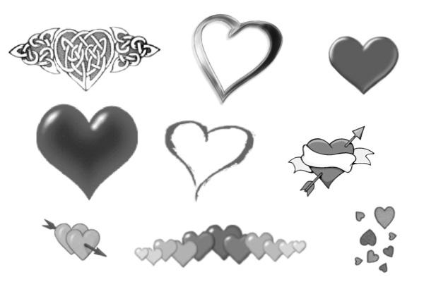 PS笔刷下载  时尚爱心图案、心形花纹元素笔刷