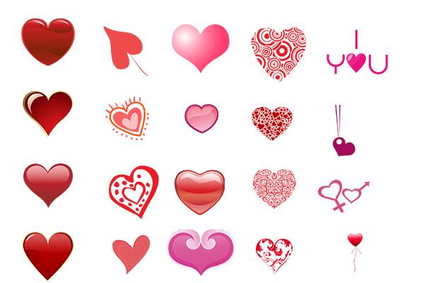 PS笔刷下载  不同类型的爱心图案、心形笔刷(PNG格式)