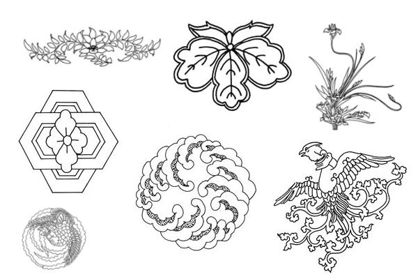 PS笔刷下载  中国传统文化富贵印花图案