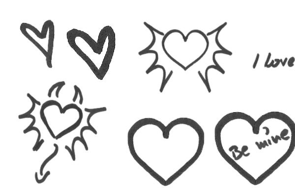 PS笔刷下载  情人节爱情涂鸦、爱心涂鸦笔刷