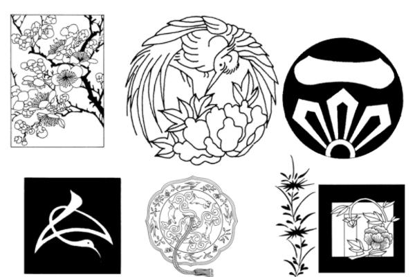 日式风格、樱花花纹图案PS笔刷