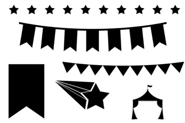 马戏团装饰、横幅元素PS笔刷