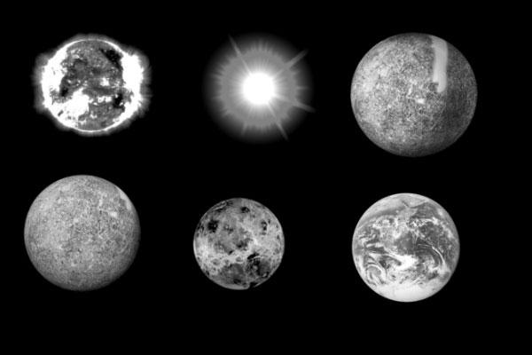 PS笔刷下载  月球、星球、地球、恒星图案笔刷