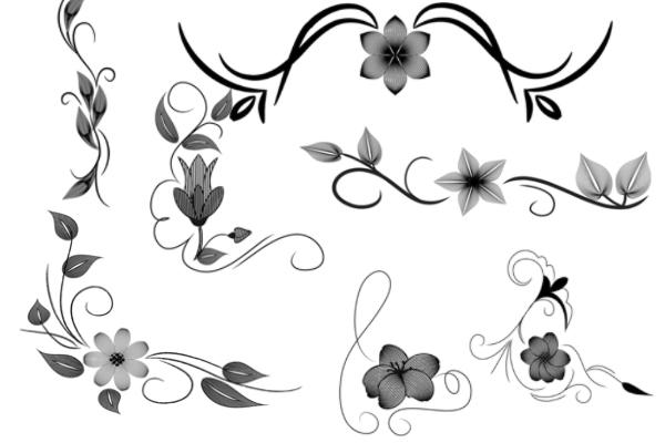 鲜花花纹图案、植物印花PS笔刷素材