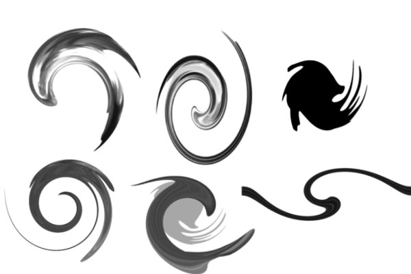 PS笔刷素材  漩涡、旋转流线丝带图案笔刷