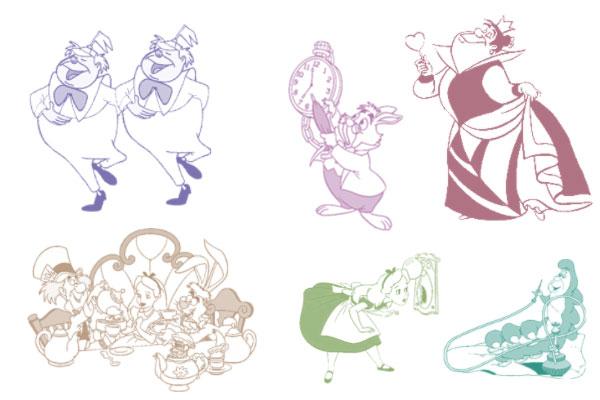 PS笔刷下载  爱丽丝梦游仙境人物笔刷素材