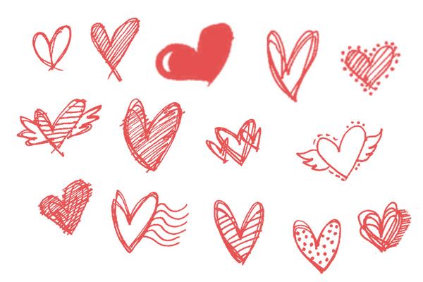 PS笔刷下载  手绘涂鸦爱心纹理笔刷