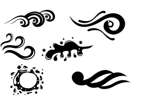 水浪式花纹图案PS笔刷