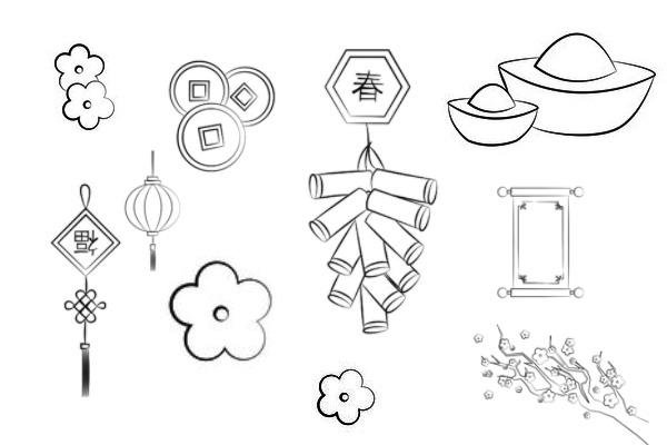 新年图案、灯笼、元宝、鞭炮等元素PS笔刷