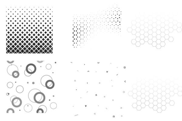 六边形蜂窝、渐变复验式点阵纹理PS笔刷